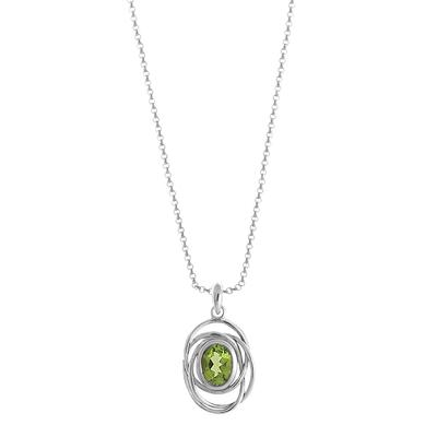 Boma Oval Peridot & Woven Sterling Silver Necklace
