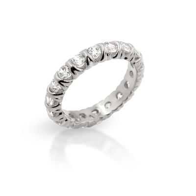 Sterling Silver & Cz Xo Stacking Ring