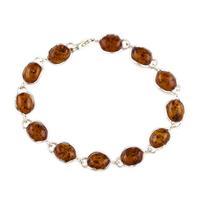 Sterling Silver & Oval Cognac Amber Bracelet