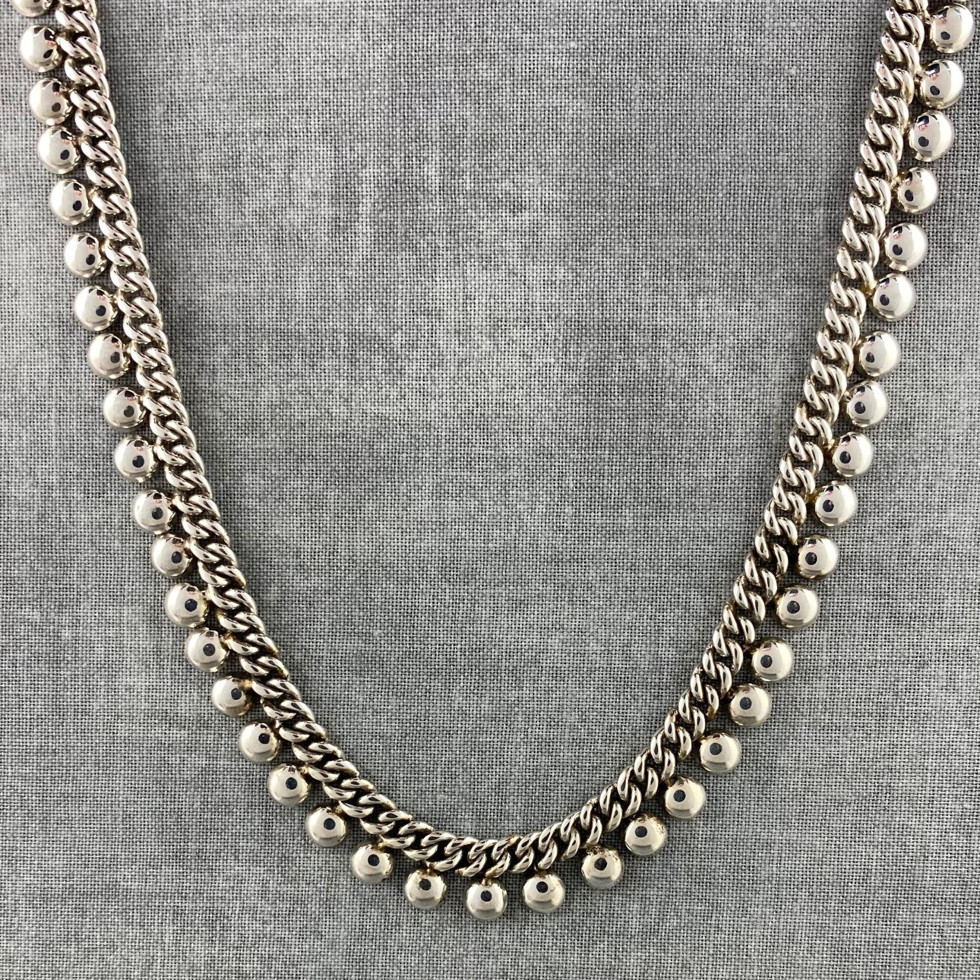 Indiri Sterling Silver Beaded Bali Chain Necklace