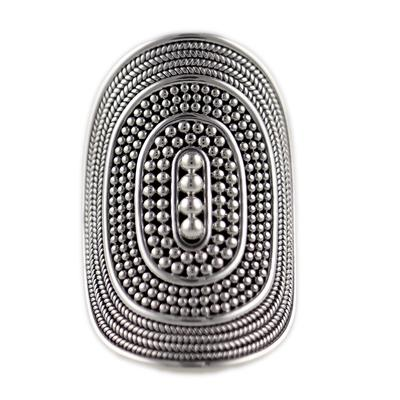 Indiri Sterling Silver Tapered Granulation Ring