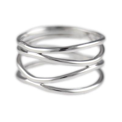 Polished Sterling Silver Double X Ring