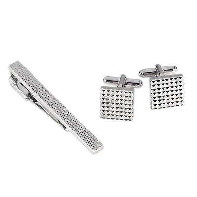 Checkerboard Design Tie Clip & Cufflink Set