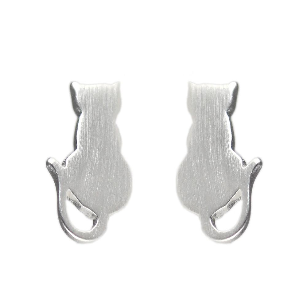 Tashi Brushed Sterling Silver Cat Studs + Hover To Zoom