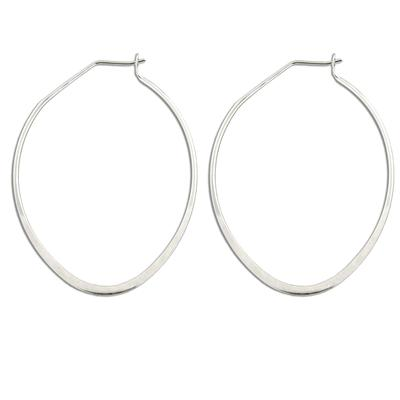 Flat Oval Sterling Silver Hoops