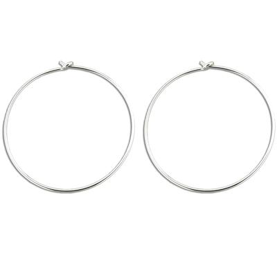 Large Thin Sterling Silver Hoops