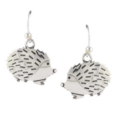 Far Fetched Sterling Silver Hedgehog Earrings