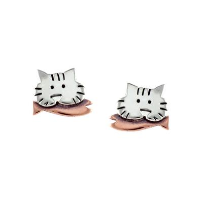 Far Fetched Sterling Silver Kitty Studs