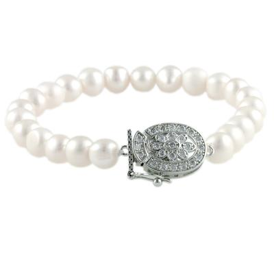 Floral Cz Clasped Pearl Strand Bracelet