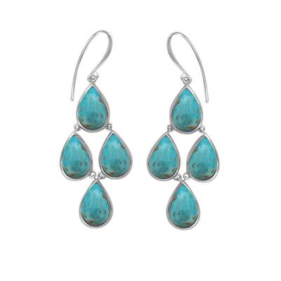 Boma Sterling Silver & Turquoise Four Tear Earrings