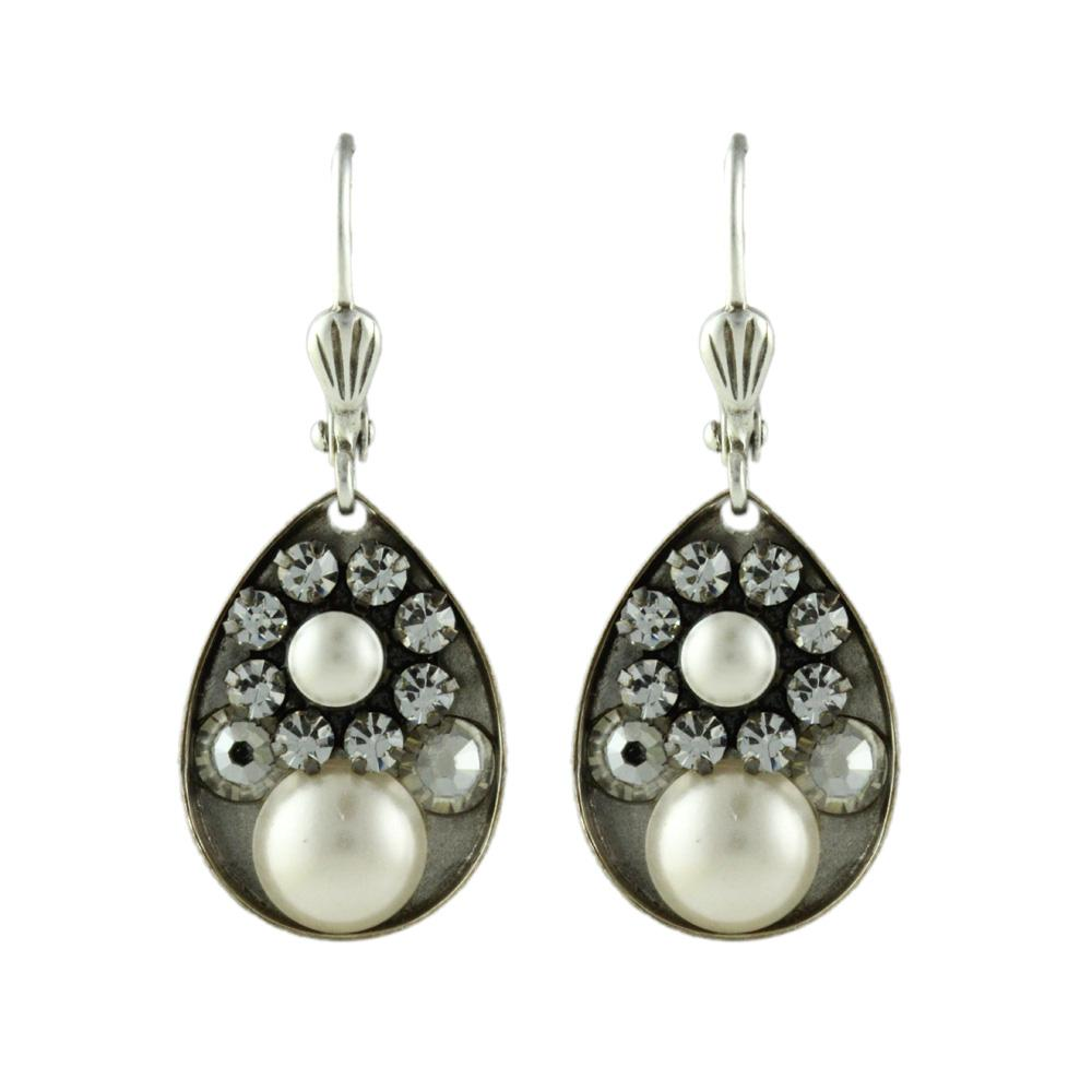 Home gt Earrings Stone Clara Beau Silver Pearl amp Crystal Cluster