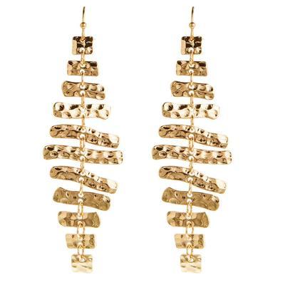 Long Hammered Gold Metal Bars Earrings