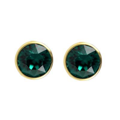 Roberto Martinez Gold & Emerald Swarovski Crystal Studs