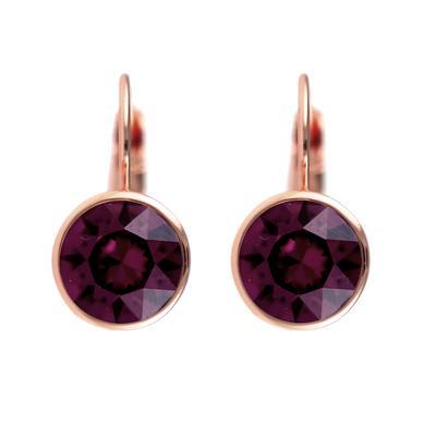 Roberto Martinez Rose Gold & Burgundy Swarovski Crystal Earrings