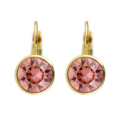 Roberto Martinez Gold & Rose Peach Swarovski Crystal Earrings