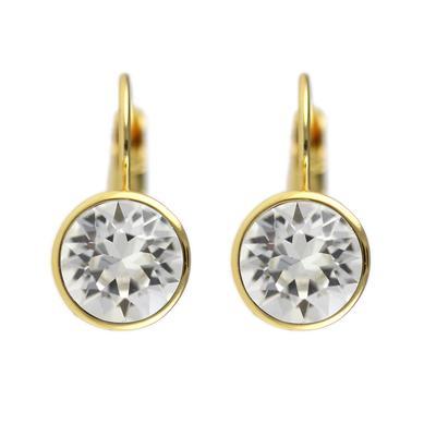 Roberto Martinez Gold & Clear Swarovski Crystal Earrings