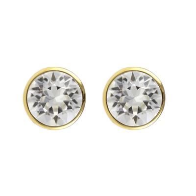 Roberto Martinez Gold & Clear Swarovski Crystal Studs