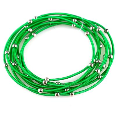 Set Of 9 Green & Silver Metal Guitar String Style Bracelets