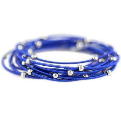 Set Of 12 Dark Blue & Silver Metal Guitar String Style Bracelets