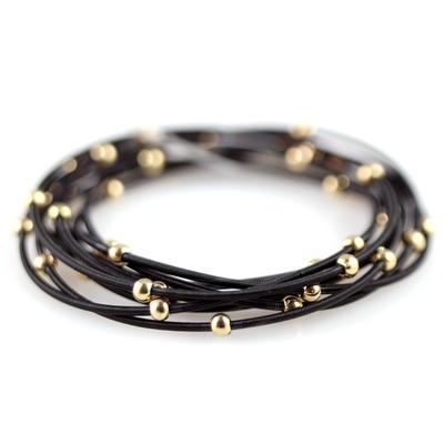 Set Of 9 Black & Gold Metal Guitar String Style Bracelets