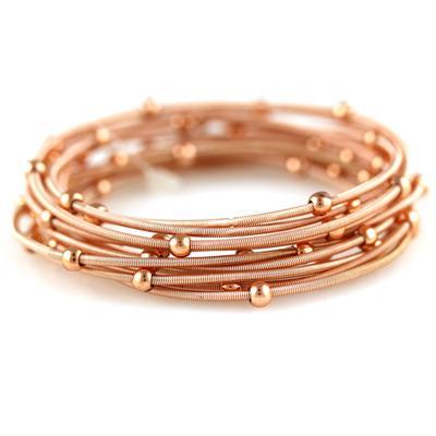 Set Of 12 Rose Gold Metal Guitar String Style Bracelets