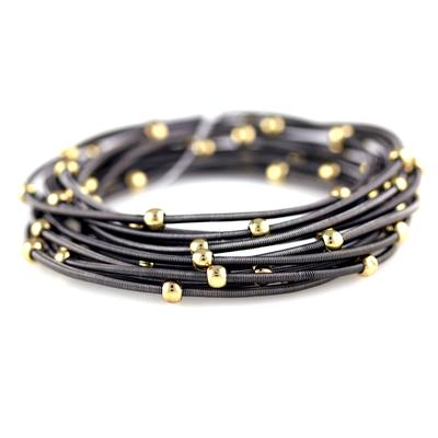 Set Of 12 Charcoal Grey & Gold Metal Guitar String Style Bracelets