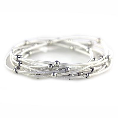 Set Of 9 Bright Silver Metal Guitar String Style Bracelets