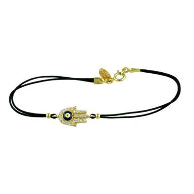 Gold, Cz & Dark Blue Evil Eye Hamsa Black Cord Bracelet