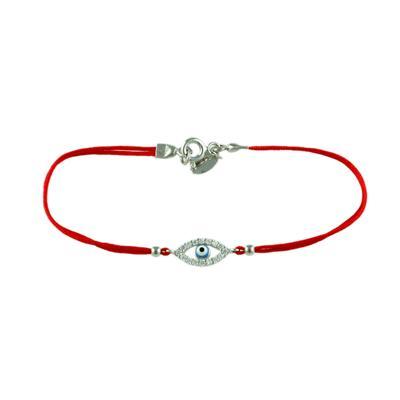 Sterling Silver, Cz & Light Blue Evil Eye Red Cord Bracelet