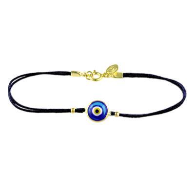 Gold & Dark Blue Evil Eye Black Cord Bracelet