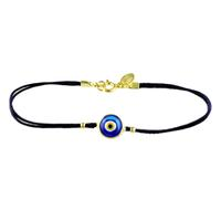 Gold & Dark Blue Evil Eye Black Cord Bracelet