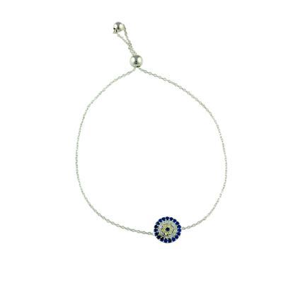 Sterling Silver & Cz Evil Eye Bracelet