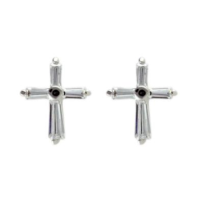 Small Cz & Sterling Silver Cross Studs