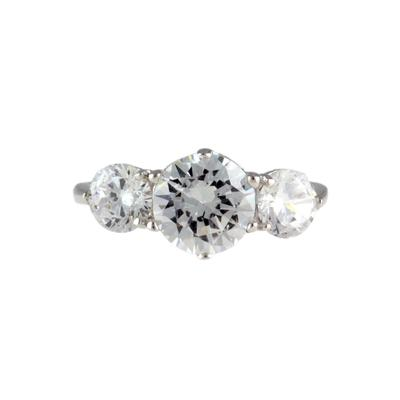 Sterling Silver Prong Set Cz Three Stone Ring