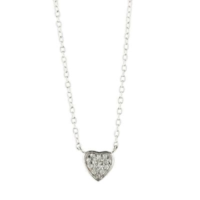 Small Pave Cz & Sterling Silver Heart Necklace