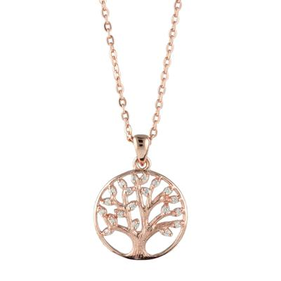 Rose Gold & Cz Tree Of Life Necklace