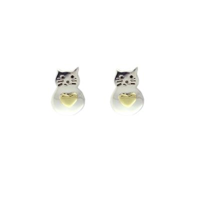 Far Fetched Sterling Silver Fat Cat Studs