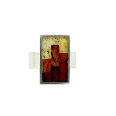 Adjustable Sterling Silver & Amber Mosaic Ring