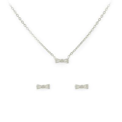 Kitsch Bow Necklace & Stud Set