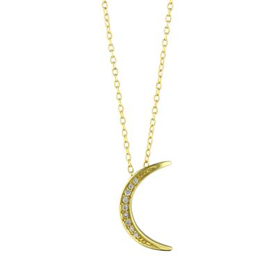 Gold & Cz Crescent Moon Necklace