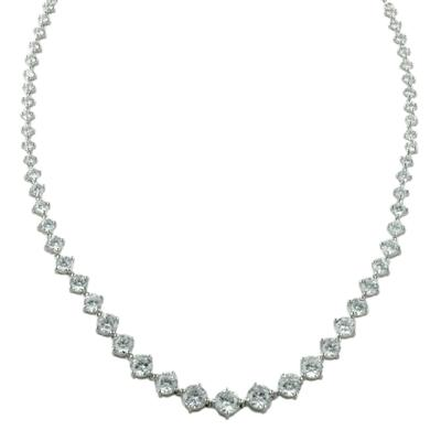 Sterling Silver & Prong Set Cz Full Necklace