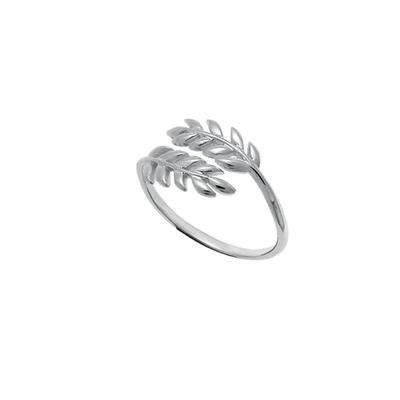 Boma Sterling Silver Crossed Leaves Ring