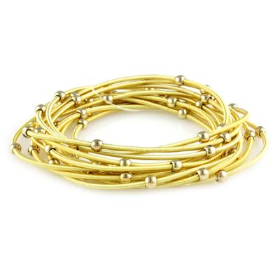 Set Of 12 Golden Guitar String Bracelets Style Bracelets