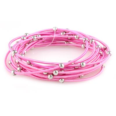 Set Of 12 Pink & Silver Metal Guitar String Style Bracelets