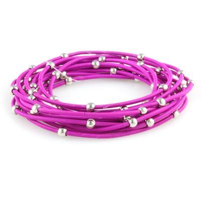 Set Of 12 Purple & Silver Metal Guitar String Style Bracelets