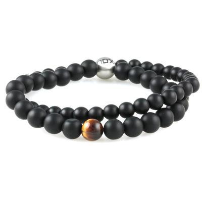 Inox Men's Black Onyx & Tiger Eye Double Strand Bracelet