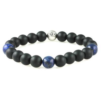 Inox Men's Matte Onyx & Lapis Bracelet