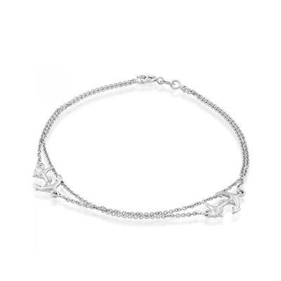 Sterling Silver Double Strand Anchor Bracelet