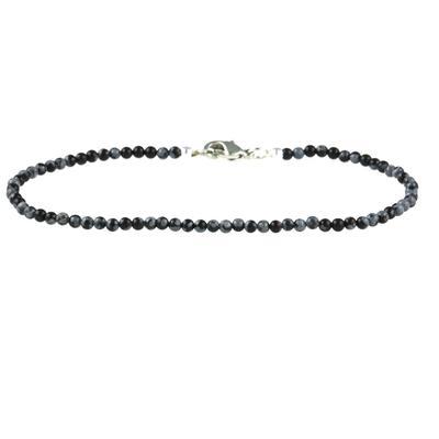 Skinny Mini Snowflake Obsidian Bracelet