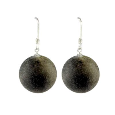 Round Black Amber Earrings